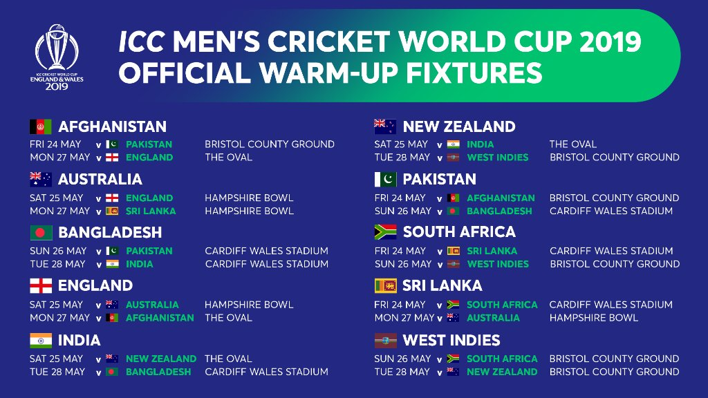 ICC Cricket World Cup 2019: Warm-Up Fixtures Released, Here's The Full Schedule