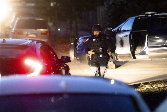Police work the scene after a deadly shooting at the Gilroy Garlic Festival in Northern California on Sunday, July 28, 2019.Noah Berger / AP