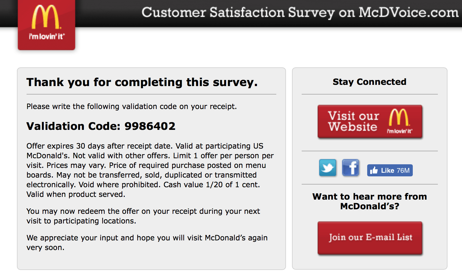 McDVOICE: How To Finish The Mcdonald's Customer Satisfaction Survey?